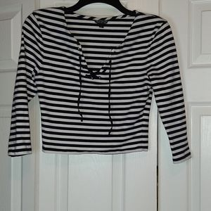 Topshop cropped striped laces shirt
